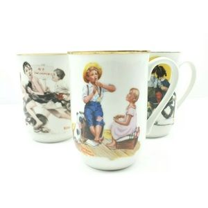 Norman Rockwell Tea Cups Lot of (3)